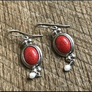 925 Sterling Silver Earrings w/ Red Feature